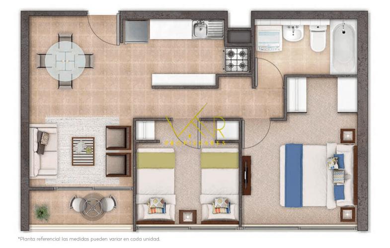 Departamento de 2 Dormitorios un Baño Ciudad del Niño