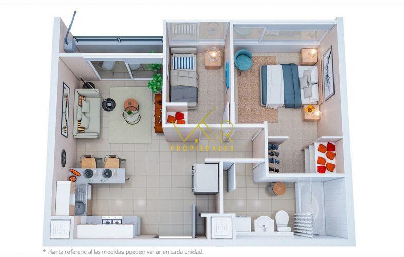 Planta de 2 dorm. 1 baño medidas aproxi. 37.8 m²